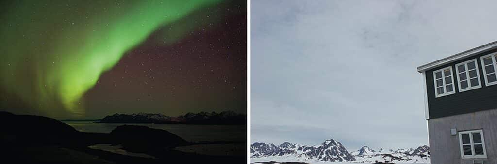 Northern lights over Kulusuk and Kulusuk during winter