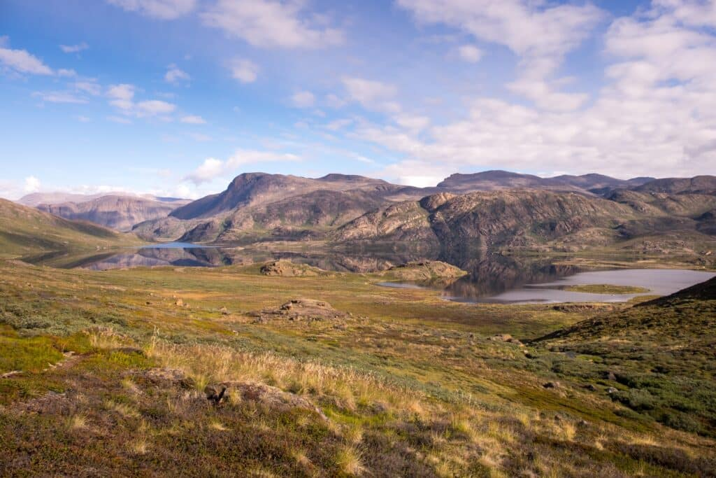 Lakes and rolling arctic tundra on the Arctic Circle Trail between Sisimiut and Kangerlussuaq