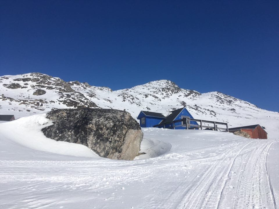 Blue hut surrounded by snow