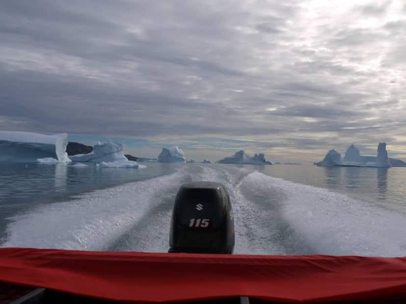 Saling away from big icebergs