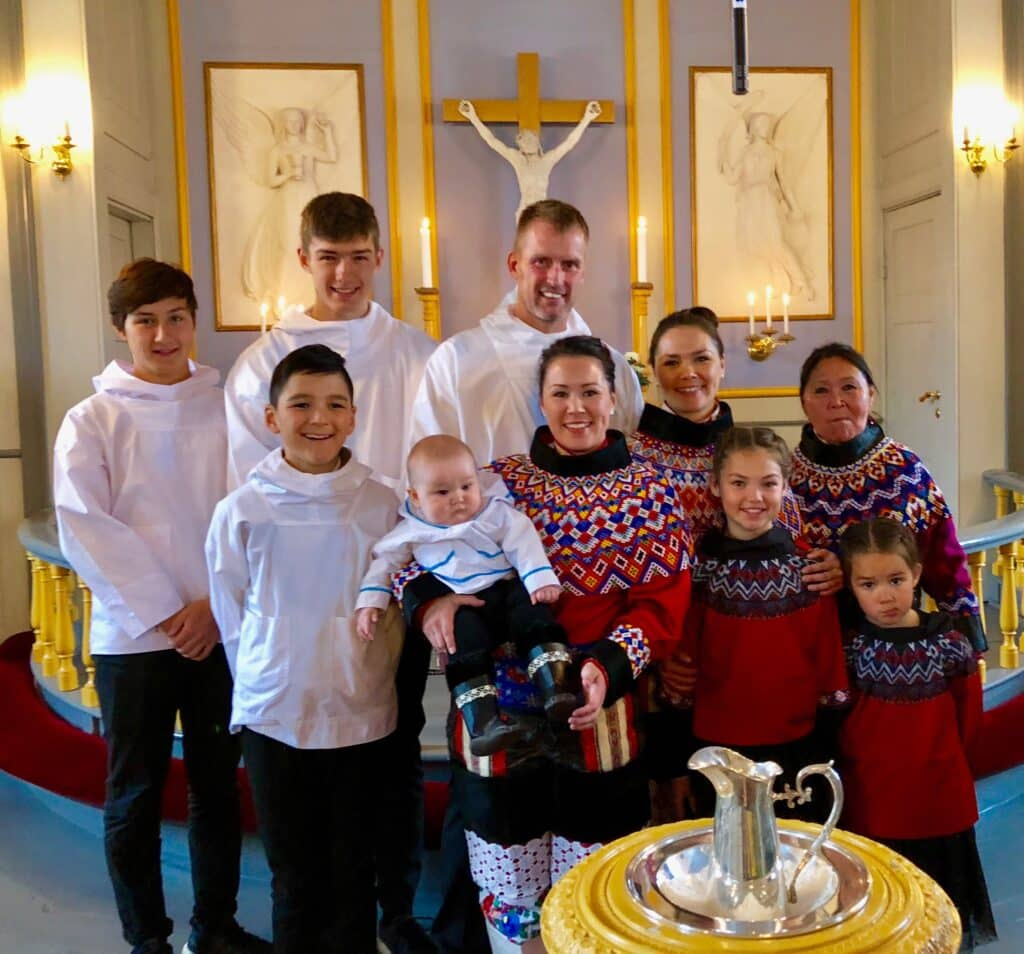 Greenlandic people in their national clothes