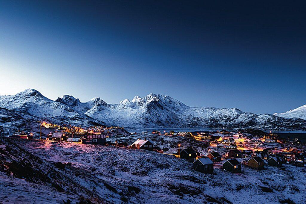 Beautiful night landscape in Tasiilaq during winter