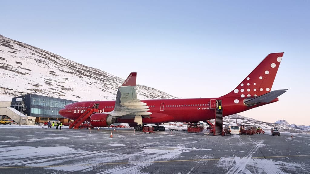 Airbus from Air Greenland in Kangerlussuaq