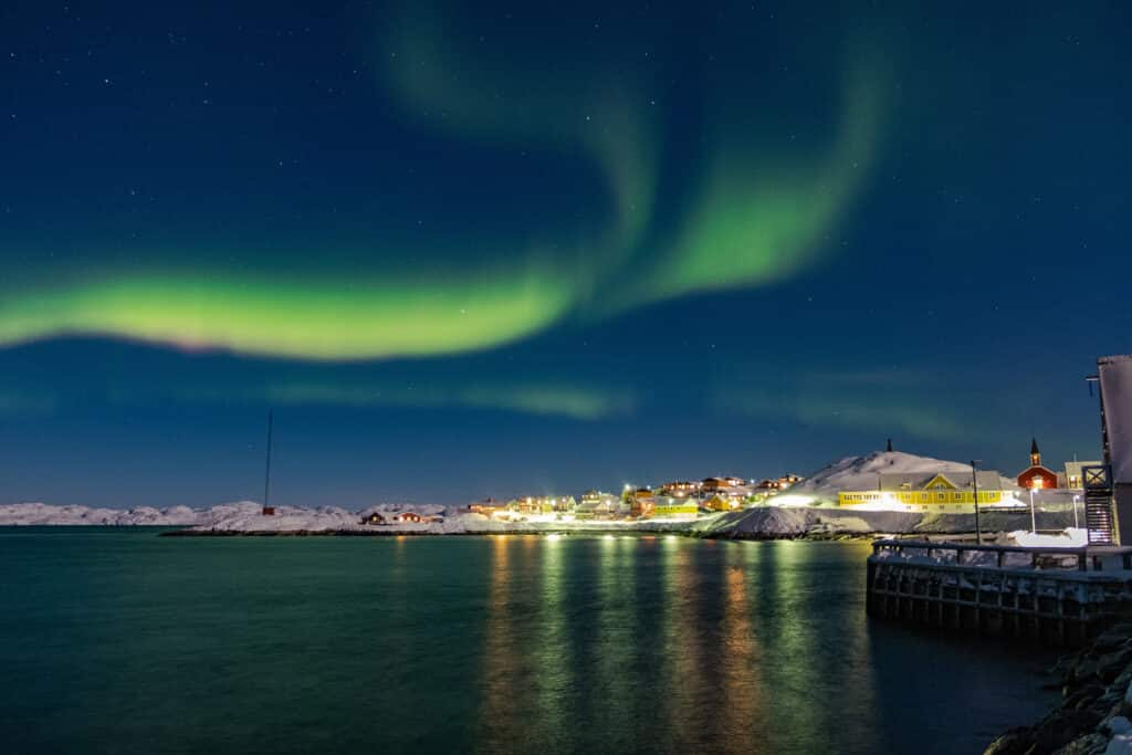 Northern Lights over Nuuk, as seen from the Colonial Harbour