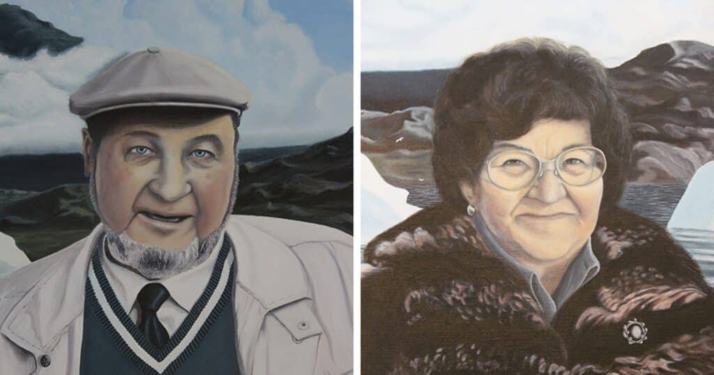 Portraits of Svend and Helene Junge painted by Christian Rosing Nuunu in 2000
