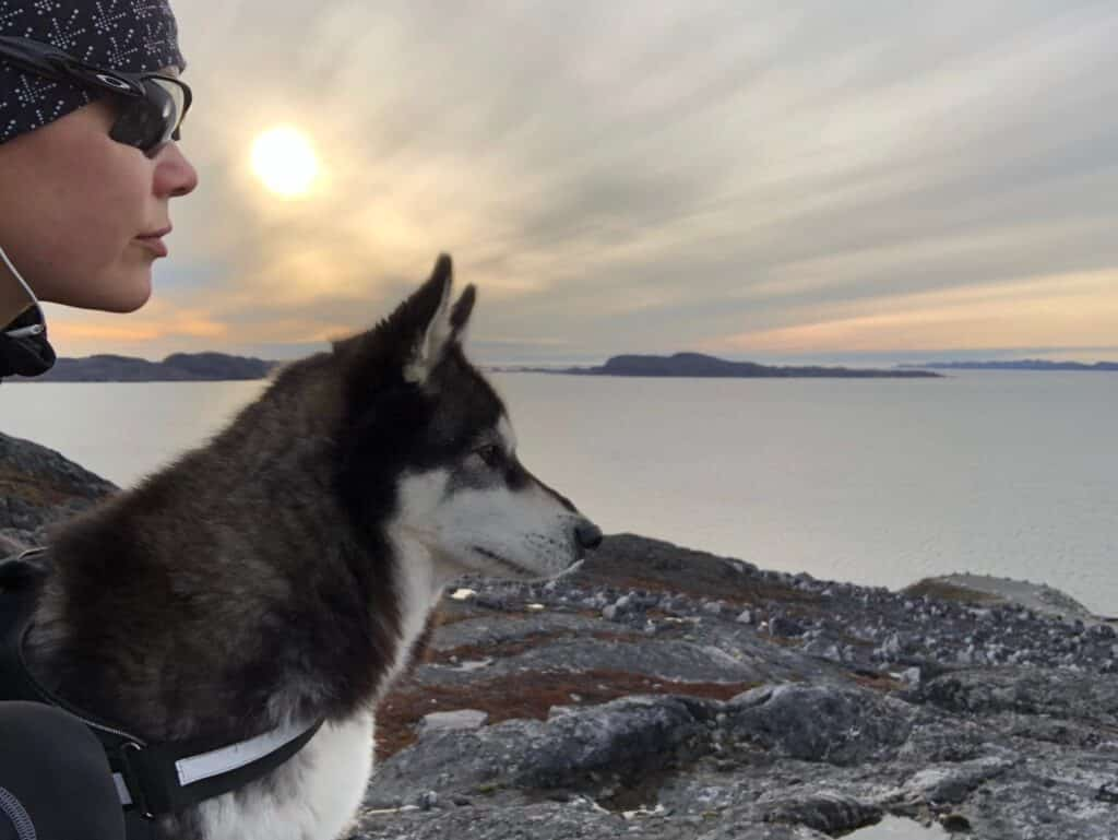Dog and woman looking over the fjord