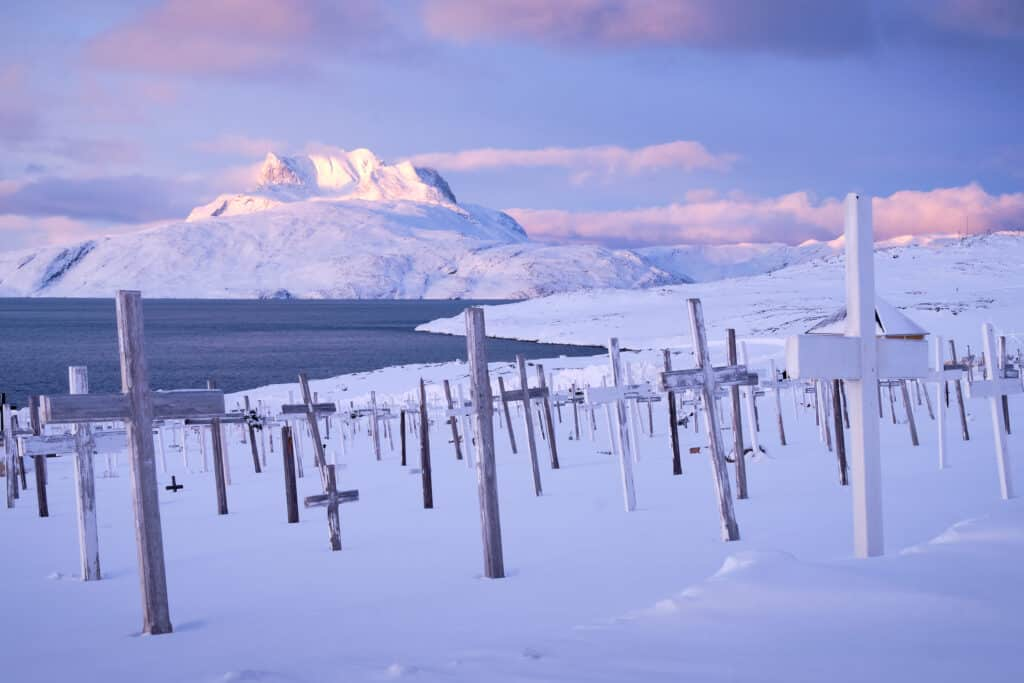 Sermitsiaq mountain as seen from the old cemetery in Nuuk