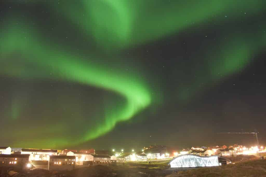 Northern lights over Malik in Nuuk, capital of Greenland