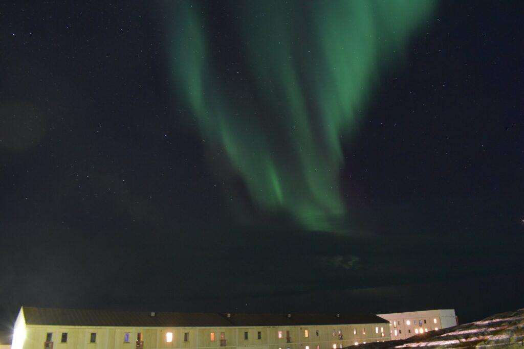 Northern lights over Nuuk, capital of Greenland
