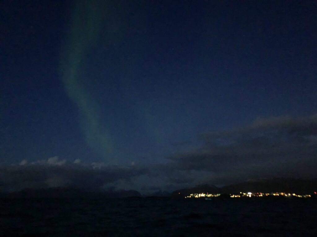 Northern lights seen from a boat