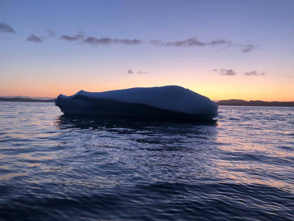 Icebergs blocking the sunset
