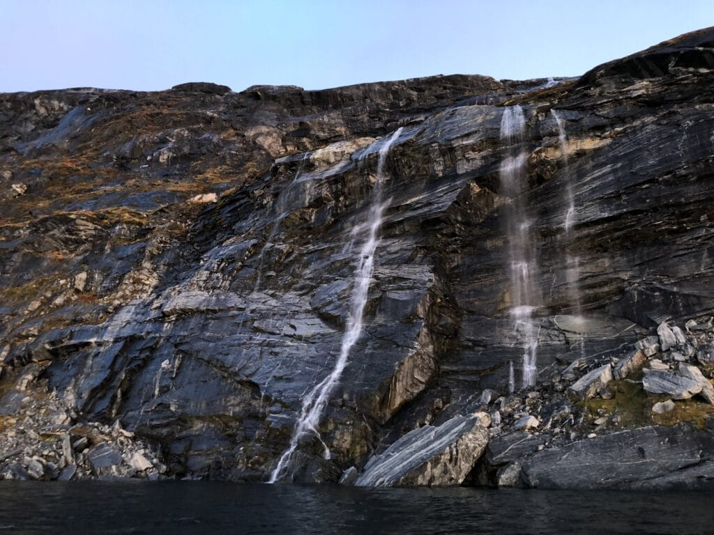 Waterfall seen from a boat