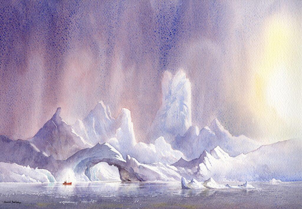 Mountainous icebergs near Ilulissat. Watercolor