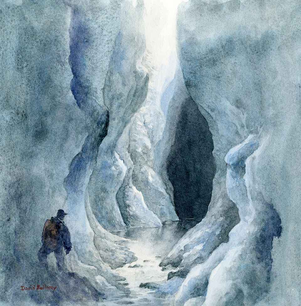Ice canyon on the Greenland ice-cap. Watercolor