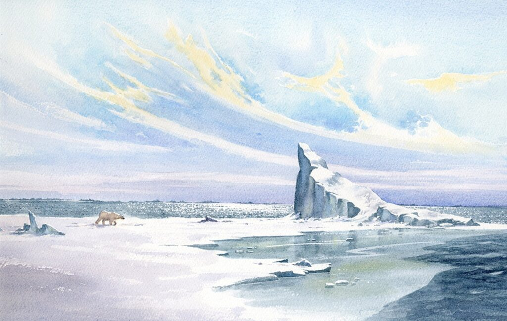 Thin ice, Ittoqqortoormiit. Watercolor