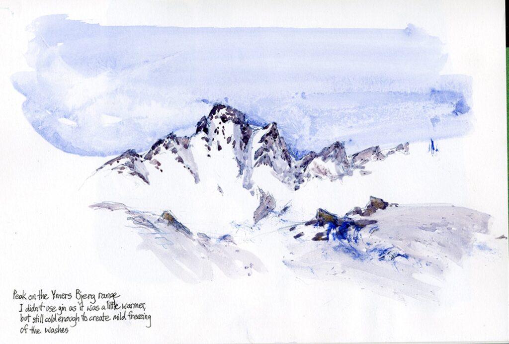 Ymers Bjerg range, Tasiilaq. Watercolor sketch