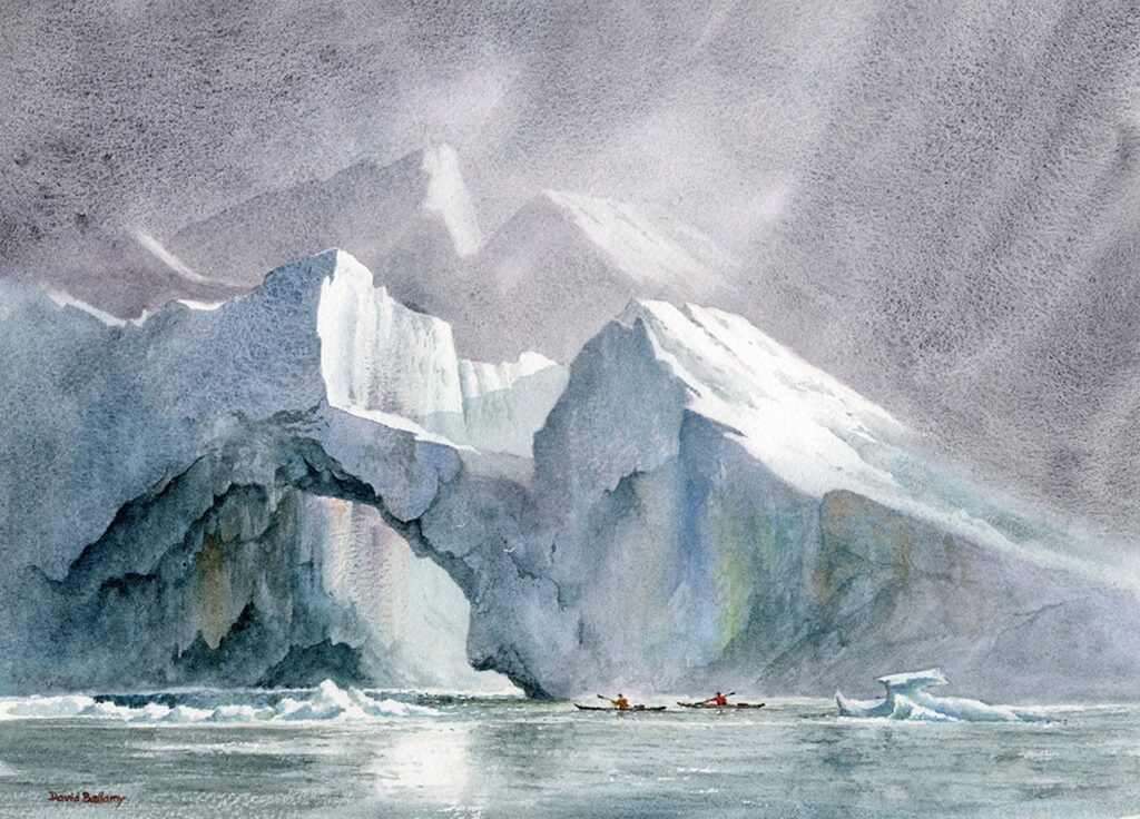 Kayakers amidst the icebergs, Disco Bay. Watercolor