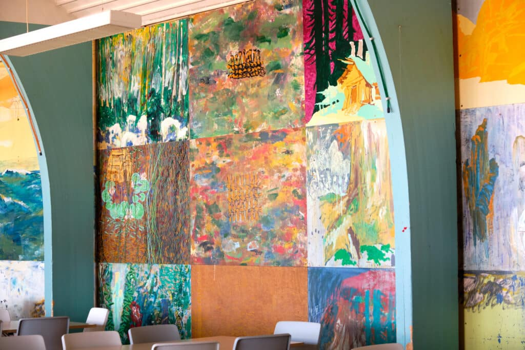 Paintings of Per Kirkeby in the Aasiaat Community Hall