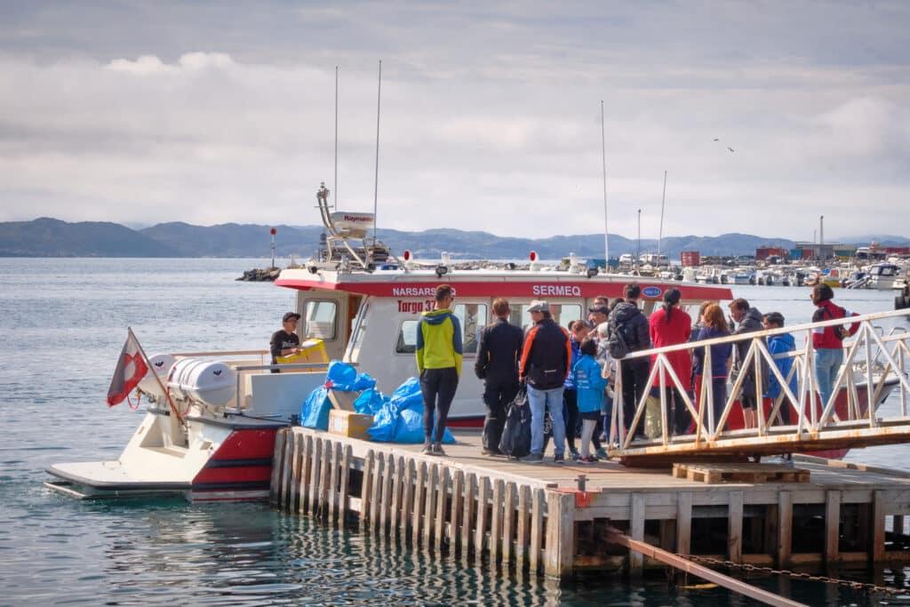 Passengers waiting to board boat Qaqortoq