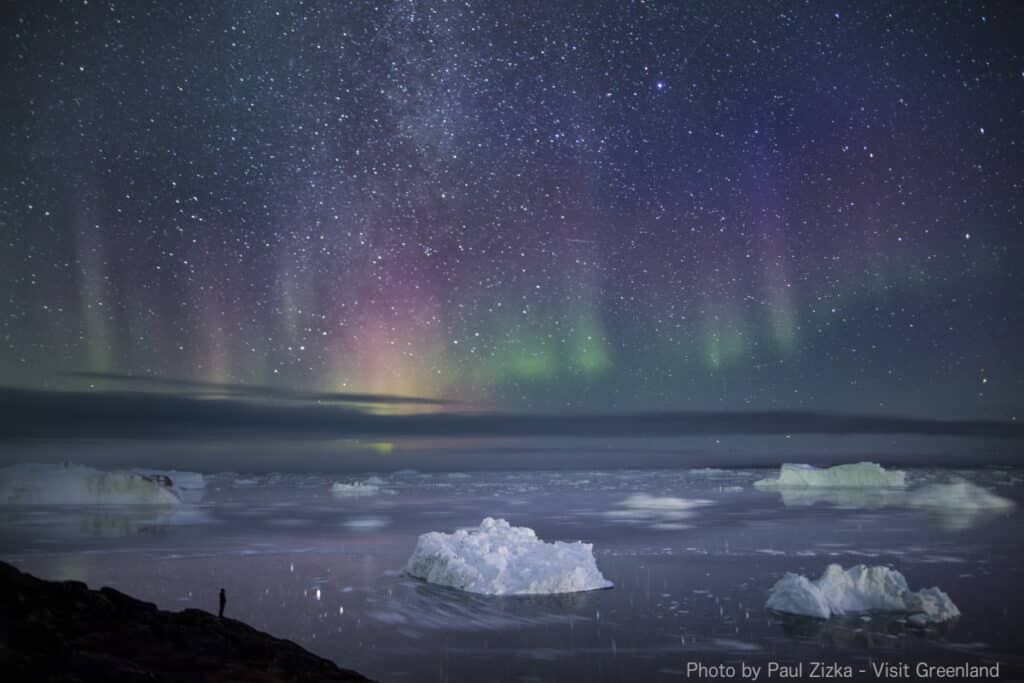 Northern Lights over the Ilulissat Icefjord, purple and green colours