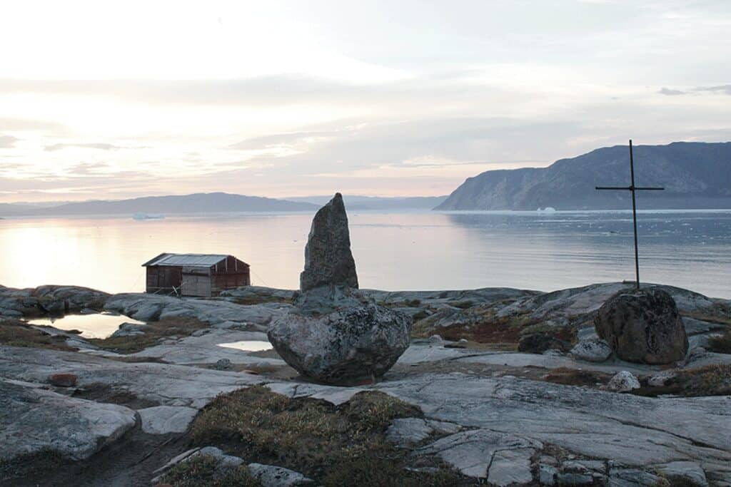 Small cabin overlooking the fjord in Greenland