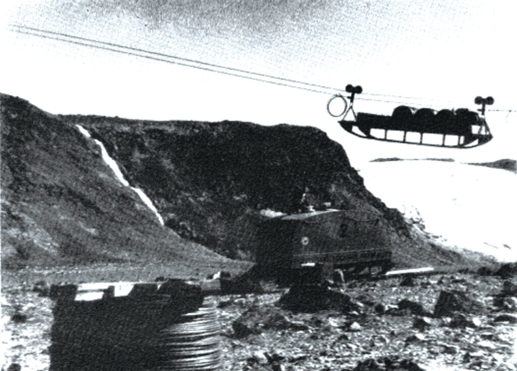 A load being hoisted on the cable-way