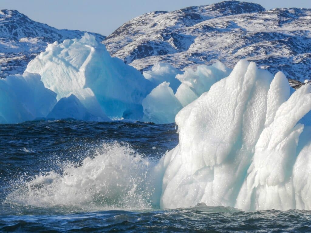 Icebergs in the water