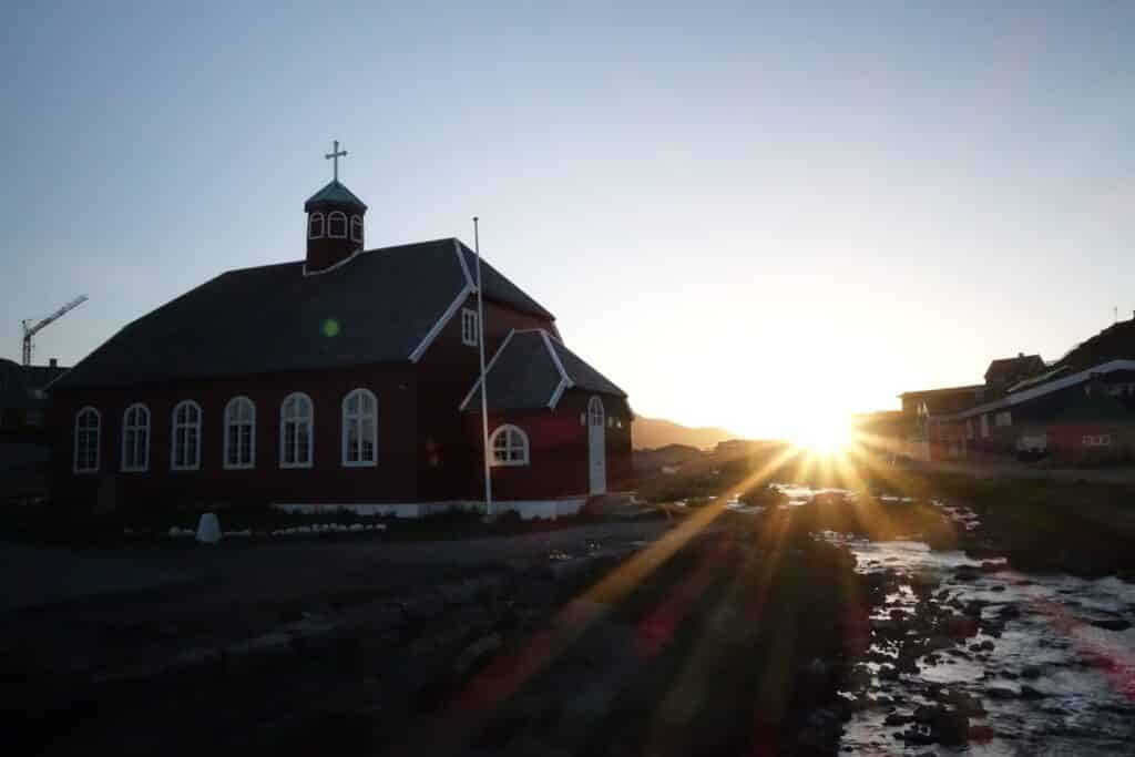 Church and sunset