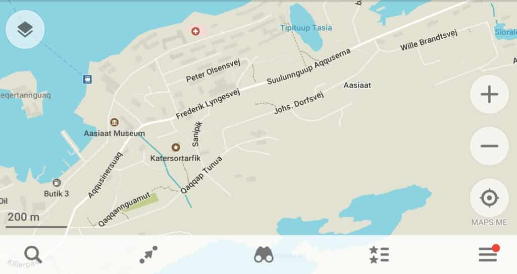 Screenshot of Maps.Me map of central Aasiaat