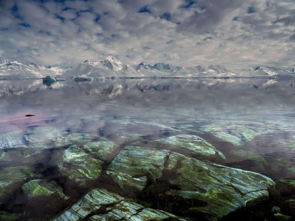 Rocks underneath the water