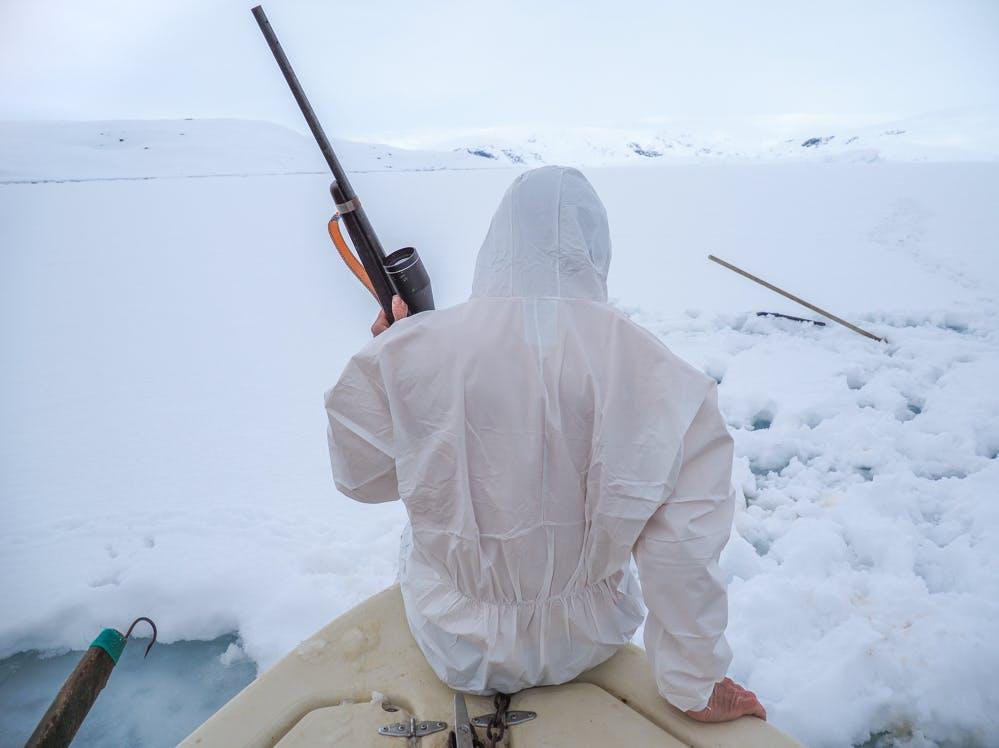 Seal hunter getting on land