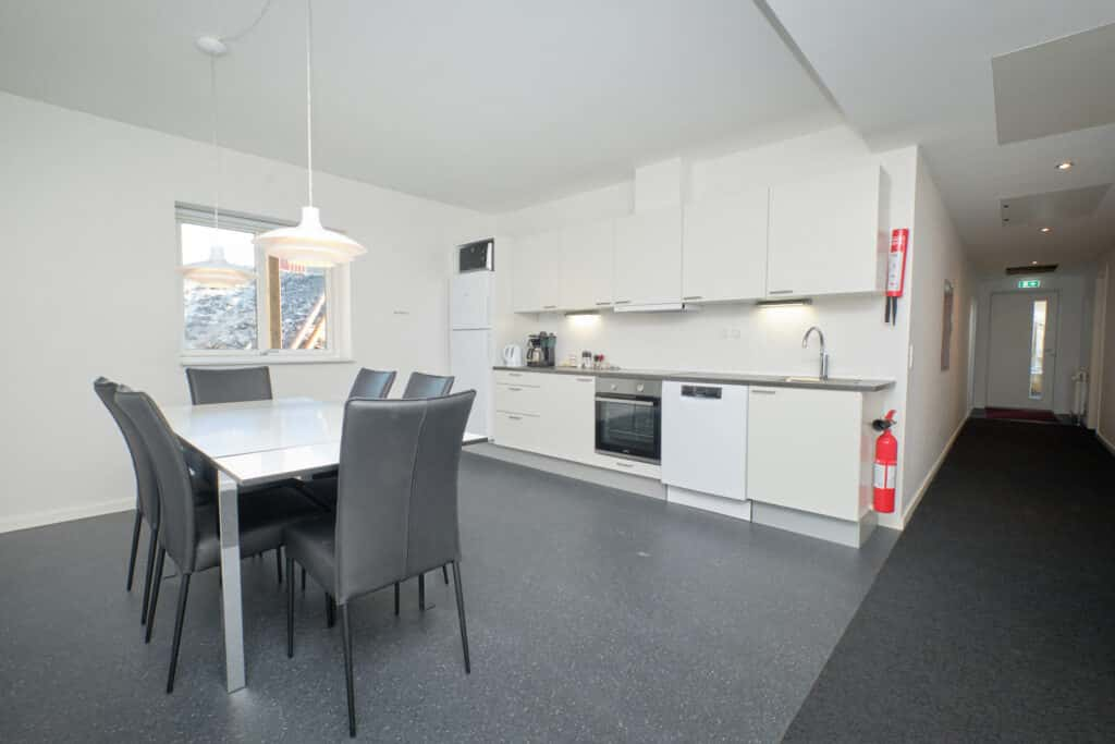 Shared kitchen at the Hotel Icefjord Apartments in Ilulissat