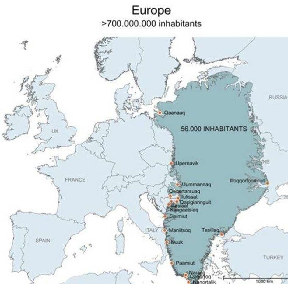 Greenland in comparison with europe
