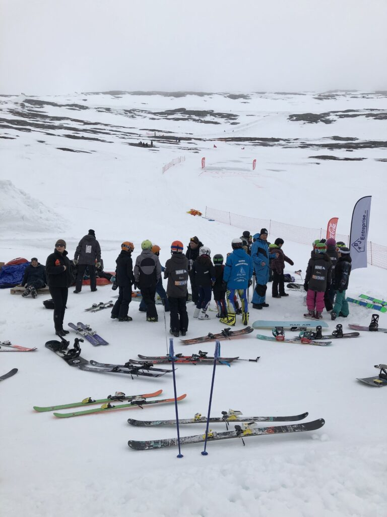 Group of people about to go skiing