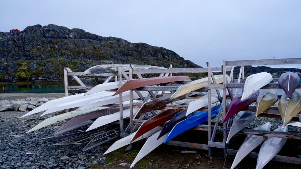 Kayaks on land