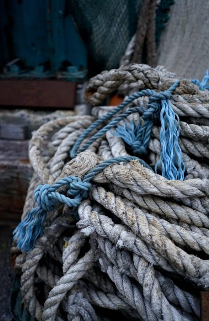 Blue and brown rope