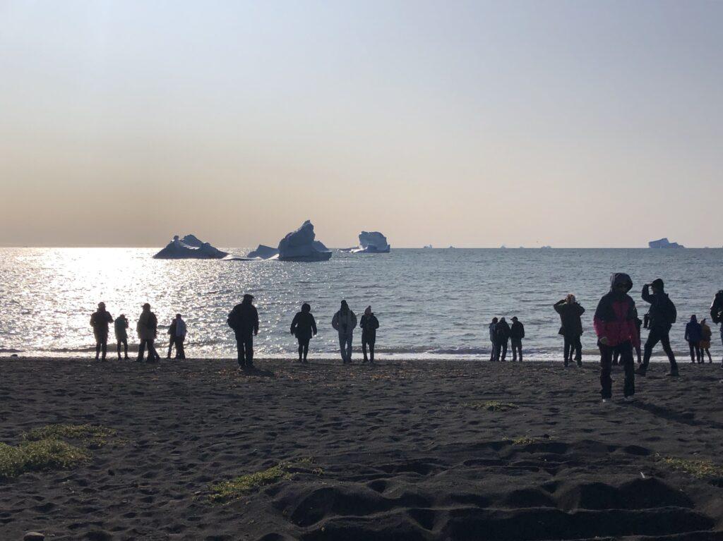 People looking at icebergs