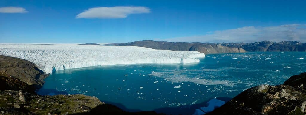 The mouth of a glacier in Greenland