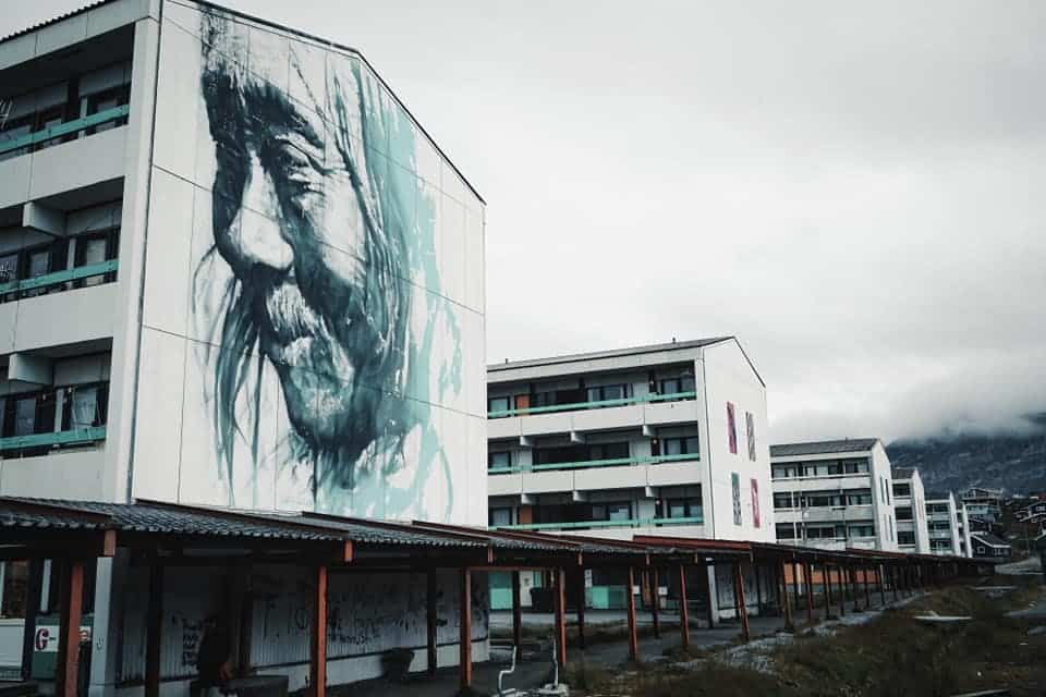 Art on one of the apartment houses in Nuuk
