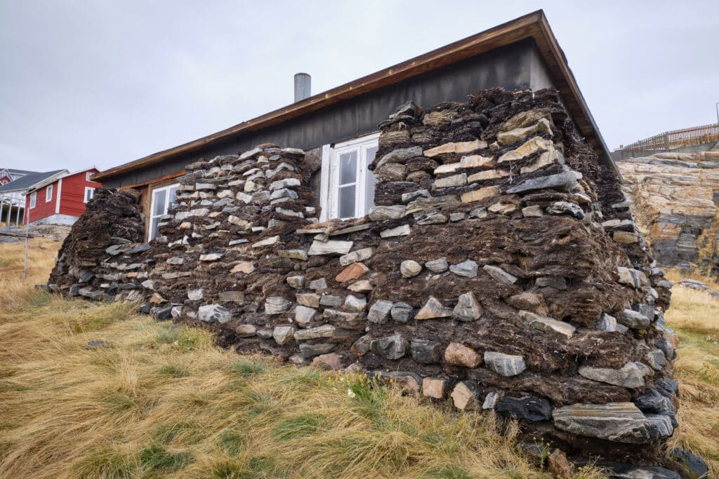 Traditional turf house in the centre of Uummannaq