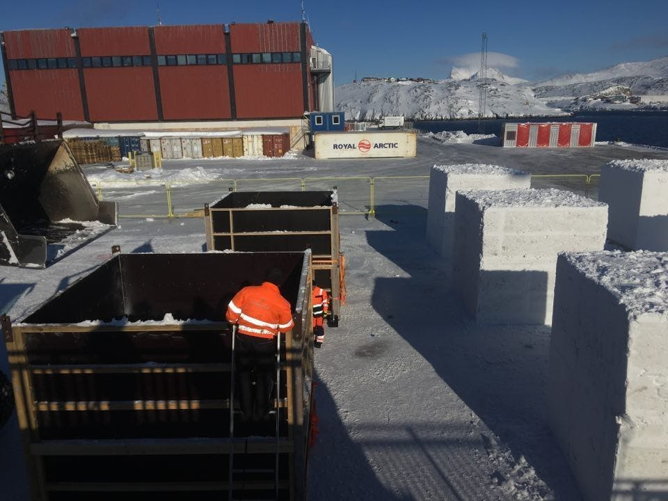 Cubes being made at preparation for Nuuk Snow Festival