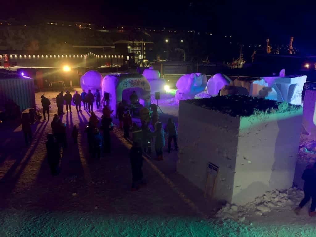 DJ playing at snow festival in Nuuk