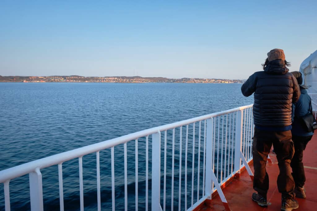 Watching the approach to Aasiaat from the deck of the Sarfaq Ittuk Passenger Ferry