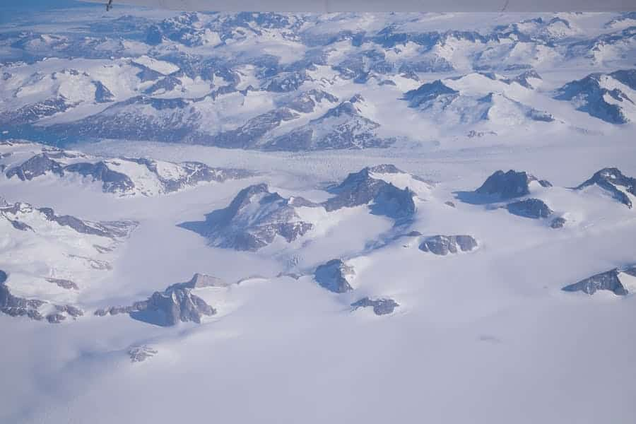 View out the window flying over Greenland