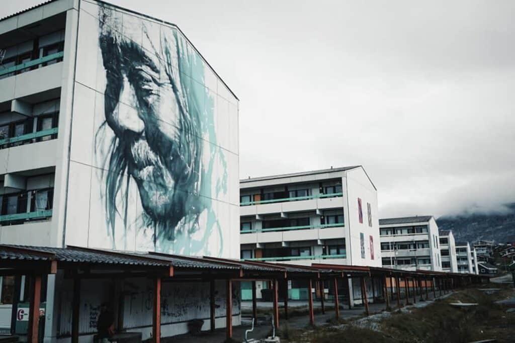 Painted buildings in Nuuk
