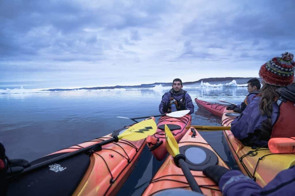 Kayaking among icebergs