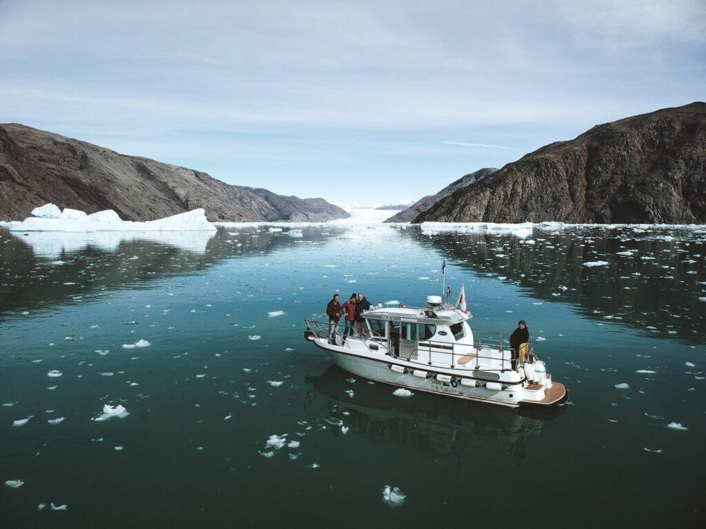 Boat among icebergs