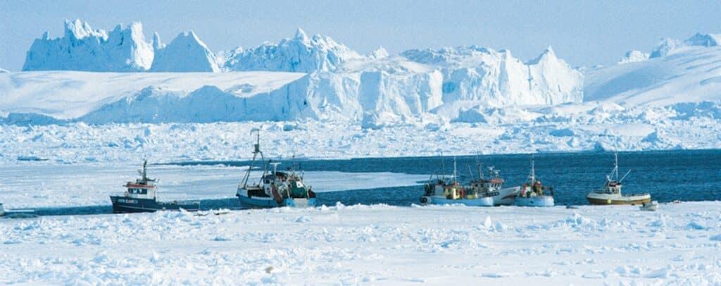 Boats among the icebergs