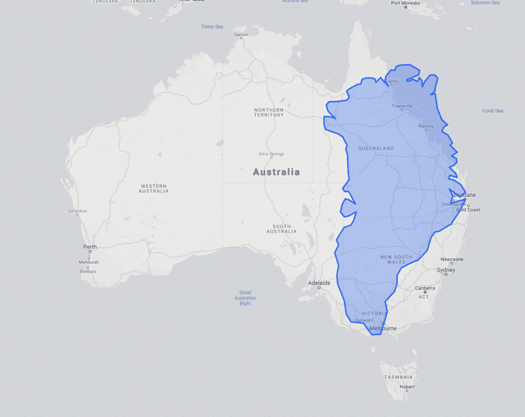 Size of Greenland compared with Australia
