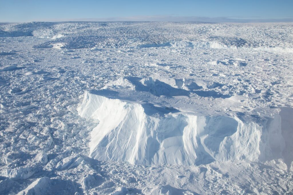 Aerial view of the tightly packed ice of the Ilulissat Icefjord - Guide to Greenland